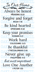 In Our Home STENCIL Bible Verses for Large Wood Signs Family Rules