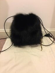 Lanvin Black Pekan Fur Backpack Bag Purse Leather NWT $15500 Drawstring Gold