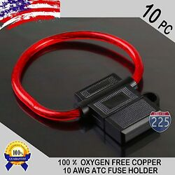 10 Pack 10 Gauge ATC In-Line Blade Fuse Holder 100% OFC Copper Wire Protection $10.95