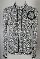 Womens CHANEL 05A Black & White Tweed Cashmere Cardigan Sweater Top Size 44