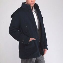 ISAIA NAPOLI *Luxury* Beaver Cashmere Coat with Down Padding Navy MSRP $5790 L