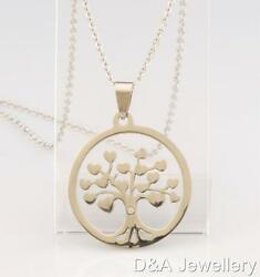 30mm Tree of Life Heart Crystal Necklace Stainless Steel Round Free Pouch Silver