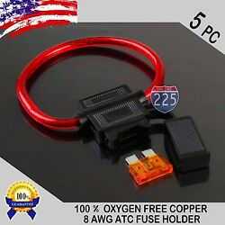 5 Pack 8GA. Gauge ATC In-Line Blade Fuse Holder 100% OFC Copper Wire + 1A - 40A $8.99