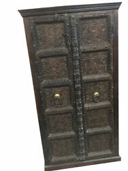 ANTIQUE CARVED DOORS WARDROBE RUSTIC TEAK VINTAGE ARMOIRE SPANISH STYLE DESIGN