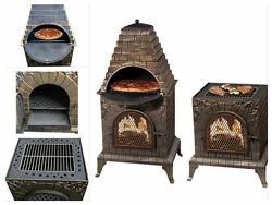 Outdoor Pizza Oven Fireplace Wood Burning Garden BBQ Grill Maker Stone Kit Stove