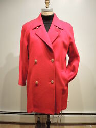 Women's Petite Double Breasted Italian Cashmere-Wool Coat 16P Red,was $8980