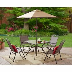 Dining 6 Pc Set Outdoor Patio Garden Yard Furniture Folding Chair Table Umbrella