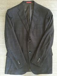 ISAIA Brown Checkered Sport coat jacket sz 52L 42US Soft Lana Wool Double Button