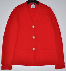 CHANEL 09A $3.4K PARIS MOSCOW JEWELED RED CASHMERE JACKET CARDIGAN38
