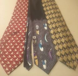 3 Men's Silk Ties Martin Wong Reach For The Stars Field & Stream Lures Horses
