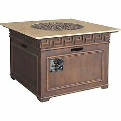 Propane Fire Pit 38 in. Pulse Ignition Marble Top Stainless Steel Burner Square