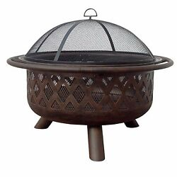 Outdoor Garden Patio 36-Inch Portable Lattice Steel Bronze Mesh Fire Pit Heater