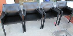 Set of Four Black Leather Cassina Cab Arm Chairs by Mario Bellini circa 1980s