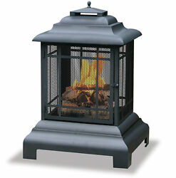 Pagoda Fire Pit Chiminea Outdoor Fireplace Portable Wood Burning Patio Yard Deck
