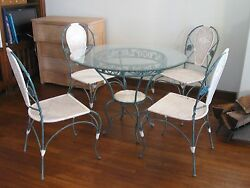 Wrought Iron Table Chairs Metal Wicker Patio Sunroom Furniture Glass top
