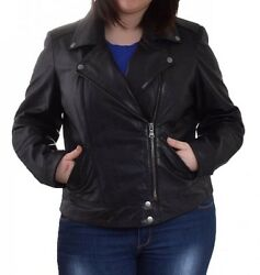Women Black Leather Jacket Plus Size or Custom Made WJ #507