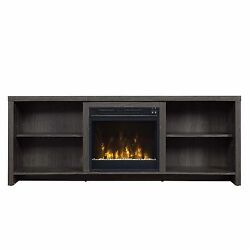 Classic Flame 59.5-Inch Black Walnut Shelter Cove Electric Fireplace Media Stand