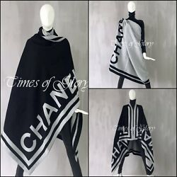 RARE Auth Chanel XXL Large Reversible LOGO Black White Wool Scarf Shawl Stole