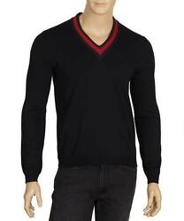 NEW GUCCI MEN'S NAVY BLUE LANA WOOL WEB V NECK CURRENT SWEATER LLARGE