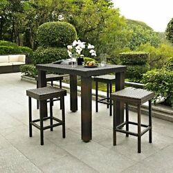 Outdoor Wicker Dining Set 5 PC High Table Chairs Stools Furniture Patio Garden