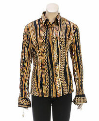 Roberto Cavalli Black and Gold Long Sleeve Chain Link Printed Button Down Top (S