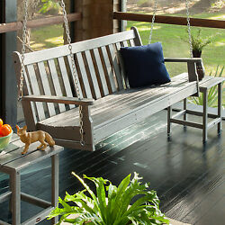 Porch Swing Wooden Outdoor Patio Furniture Gray Hammock Wood Garden Seat NEW