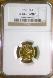 1907 $2.5 Gold Liberty head PF68 with star * finest known