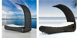 Chaise Lounge Chair Bed Wicker Daybed Modern Hotel Outdoor Pool Black Backyard