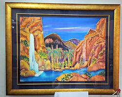 Linda Pirri Painting Canyon Falls Original On Silk Signed Liquid Gold Hawaiian