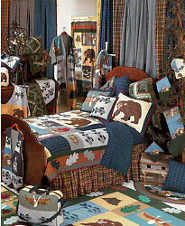 CABIN Country Lodge Patchwork Quilt Set * 4-pc TWIN * 6-pc QUEEN * 6-pc KING