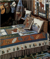 MOOSE Cabin Lodge Patchwork Quilt Set * 4-pc TWIN * 6-pc QUEEN * 6-pc KING