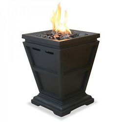 Small Fire Pit Gas Column Patio Deck Fireplace Outdoor Table Top Heater Portable