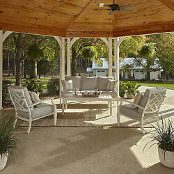 Klaussner Furniture Outdoor Mimosa 4-Piece White Aluminum Set with Cushions and