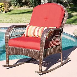 Rocking Chair Patio Porch Deck Furniture All Weather Proof  W Cushions Wicker