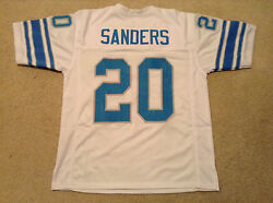 UNSIGNED CUSTOM Sewn Stitched Barry Sanders White Jersey - M L XL 2XL