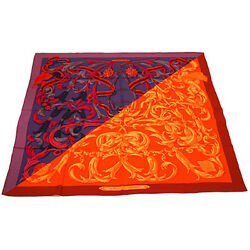 Hermes Carre Scarf Shawl Cashmere Silk Women Authentic Red Purple 56