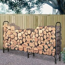 Firewood Rack with Cover 8 ft. Indoor Outdoor Fireplace Log Storage Steel Black