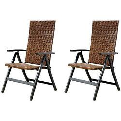 Hand-Woven PE Wicker Outdoor Reclining Chairs Set of 2