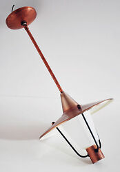 Mid Century Modern Copper Art Deco Bauhaus Industrial Saucer UFO Ceiling Lamp