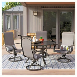 5pc Dining Set High Back Sling Rocker Chair With Arms Easy Clean Patio Garden