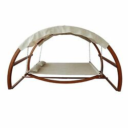 Outdoor Contemporary Porch Patio Covered Hammock Wood Canopy Swing Bed Furniture