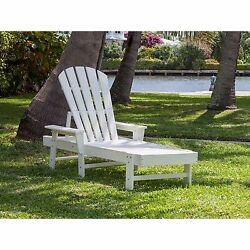 POLYWOOD White Outdoor Patio Porch Beach Adjustable Back Chaise Lounge Furniture