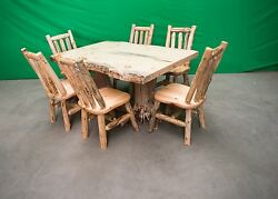 Northern Rustic Pine Log Stump KitchenDining Table - 6 Chairs - $2499