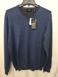 New Calvin Klein V-Neck Pullover Sweater 100% Merino Wool Men's Size XXL