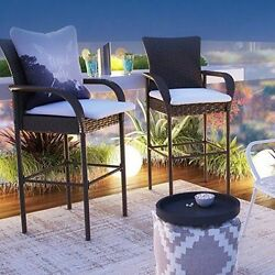 Outdoor Bar Stools Patio Furniture Wicker Set Modern Counter Height Chair Brown