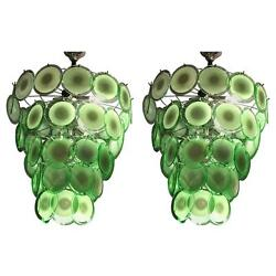 Pair of Art Deco Style Circular Murano Glass Sphere Chandeliers (407)