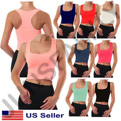 Womens Cropped Scoop Neck Racer Back Basic Crop Tank Top Seamless GYM One size  $7.95