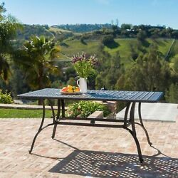 Fonzo Outdoor Bronze Cast Aluminum Rectangular Dining Table ONLY $489.35
