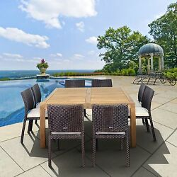 Dining Table Set For 8 Teak Patio Furniture Square Cushions Wicker Chairs Sealer
