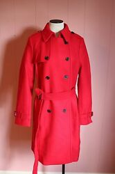 JCrew Icon Trench Coat in Italian Wool Cashmere 6 S Small Bright Red NWT $365